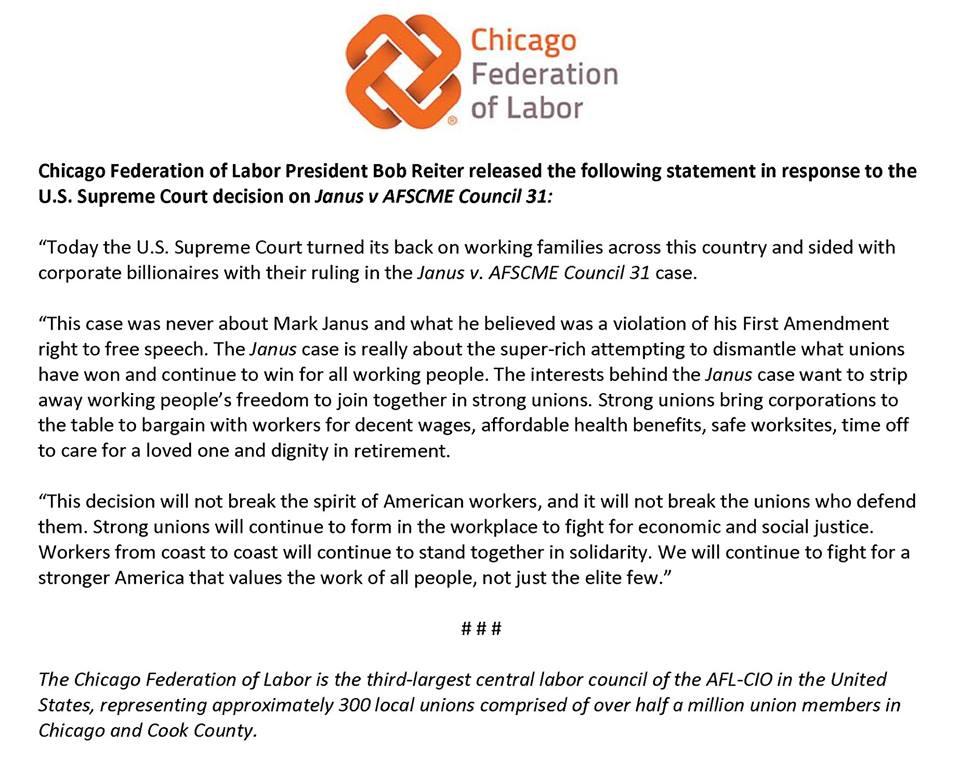 CFL response to  Janus v. AFSCME Council 31 ruling