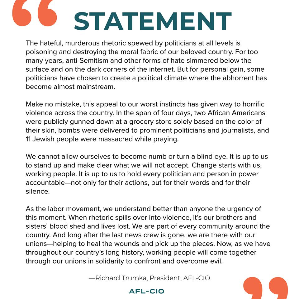 Statement from Richard Trumka
